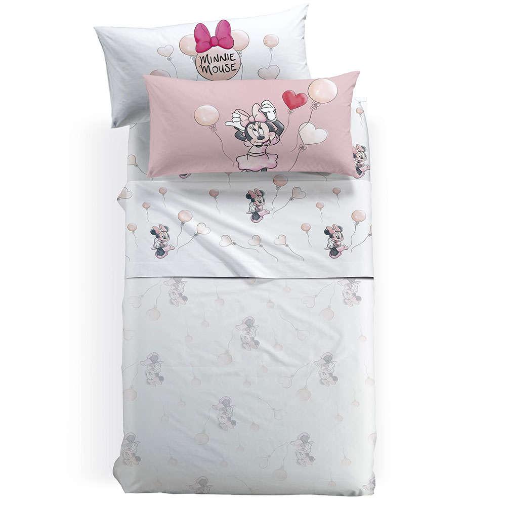 Σεντόνια Παιδικά Minnie Love Με Λάστιχο Σετ 3τμχ Pink Palamaiki Ημίδιπλο