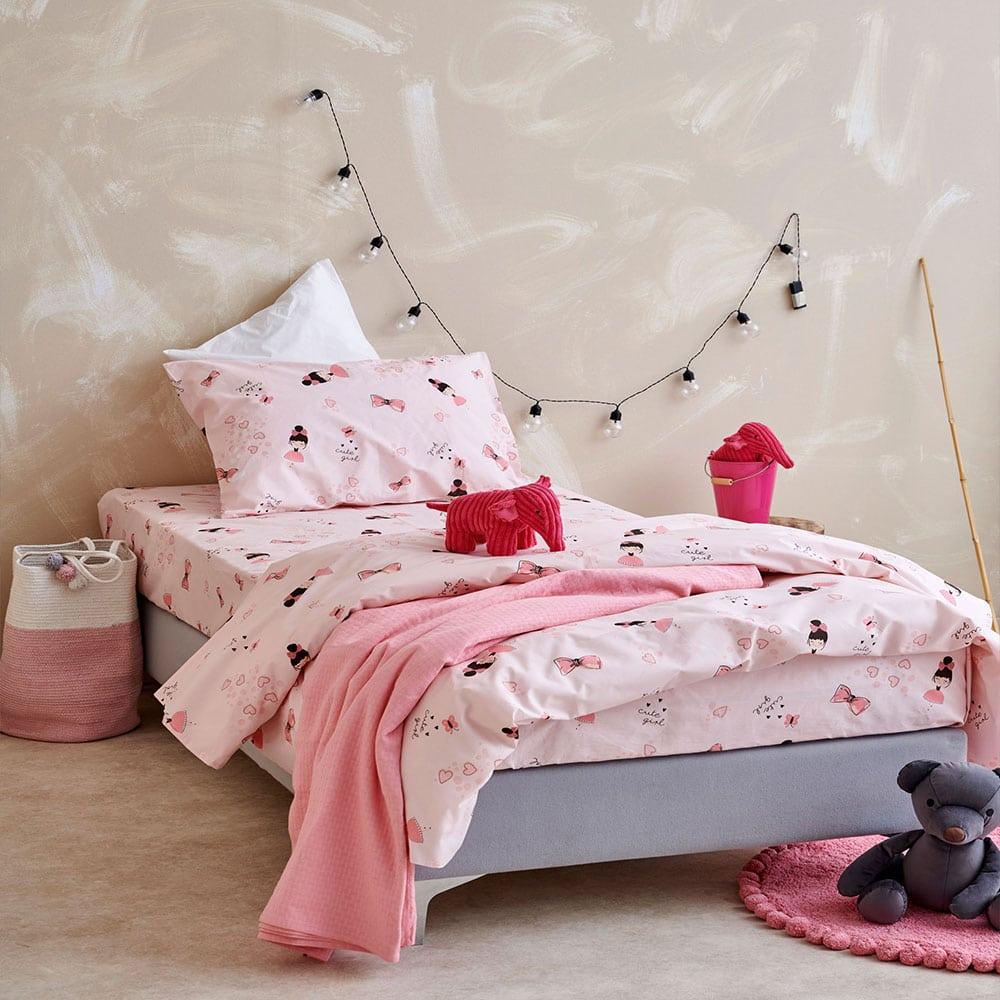 Σεντόνια Παιδικά MK723 Με Λάστιχο Σετ 3τμχ Pink Palamaiki Ημίδιπλο