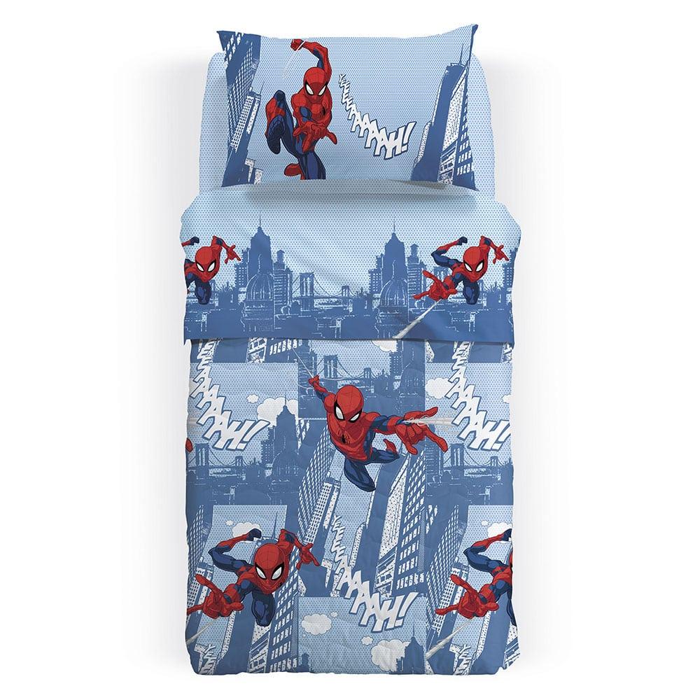 Κουβερλί Παιδικό Disney Spiderman City Blue-Red Palamaiki Ημίδιπλο