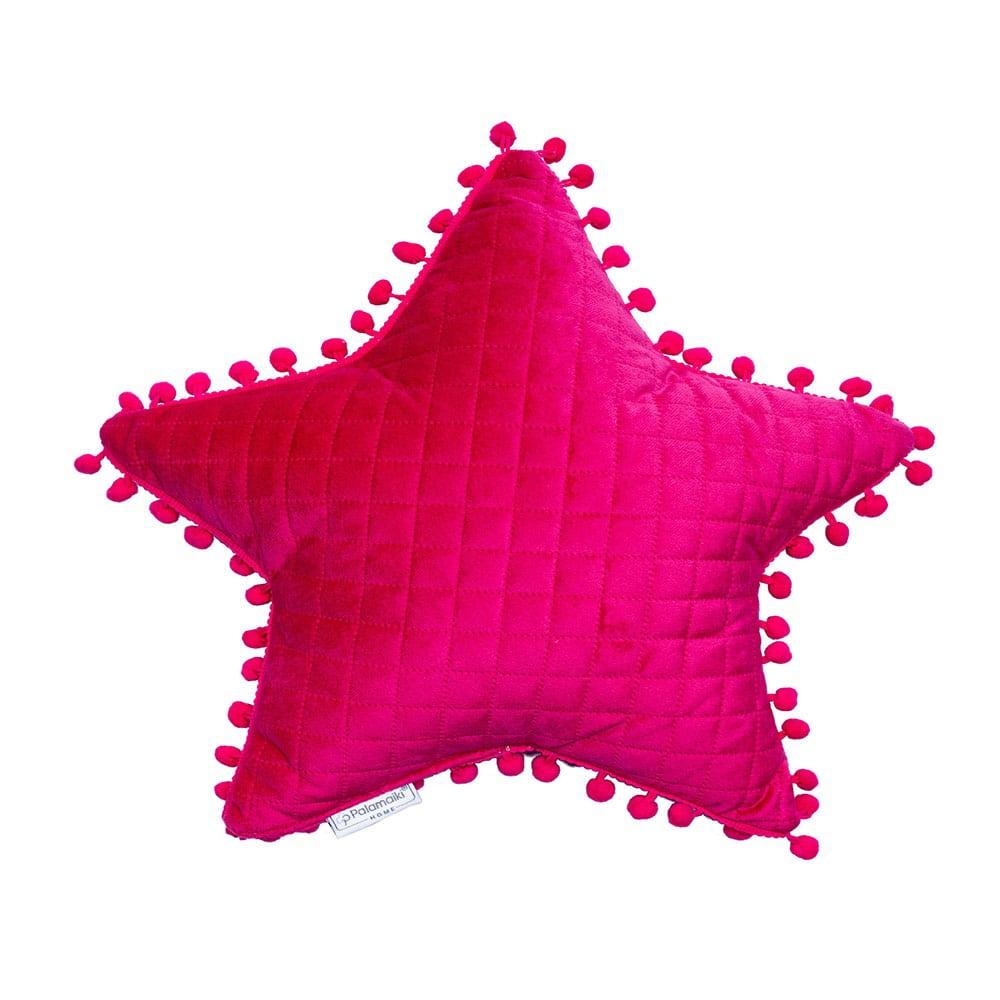Μαξιλάρι Διακοσμητικό (Με Γέμιση) Elwin Αστέρι Με Pon-Pon Fuchsia Palamaiki 40Χ40 100% Microfiber