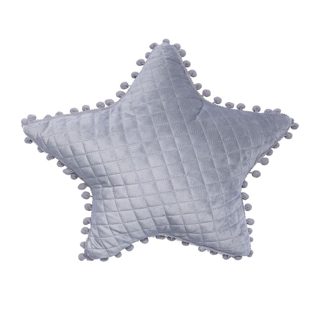 Μαξιλάρι Διακοσμητικό (Με Γέμιση) Elwin Αστέρι Με Pon-Pon Grey Palamaiki 40Χ40 100% Microfiber