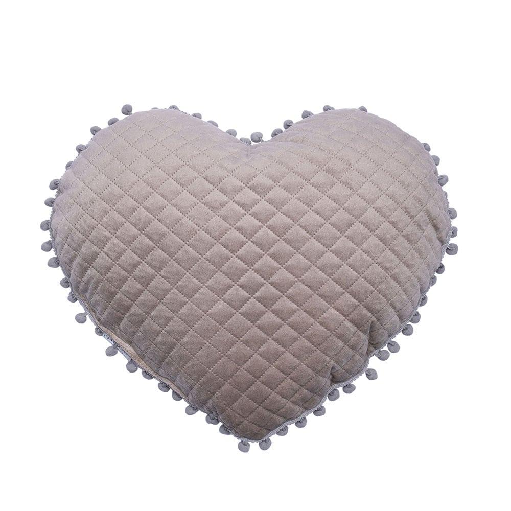 Μαξιλάρι Διακοσμητικό (Με Γέμιση) Elwin Καρδιά Με Pon-Pon Elwin Beige Palamaiki 40Χ40 100% Microfiber