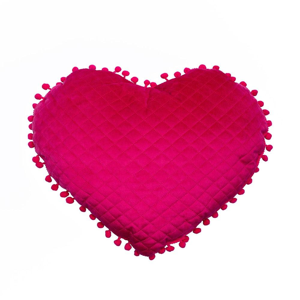 Μαξιλάρι Διακοσμητικό (Με Γέμιση) Elwin Καρδιά Με Pon-Pon Elwin Fuchsia Palamaiki 40Χ40 100% Microfiber