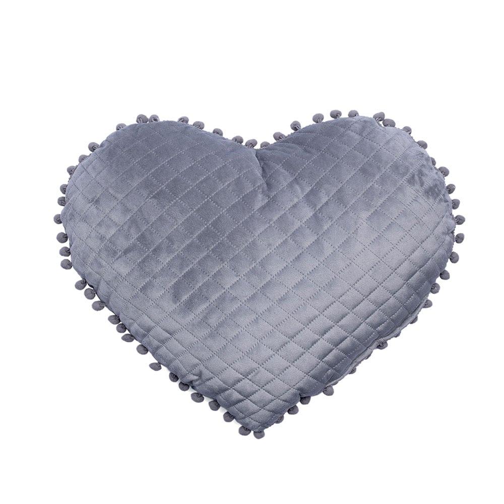 Μαξιλάρι Διακοσμητικό (Με Γέμιση) Elwin Καρδιά Με Pon-Pon Elwin Grey Palamaiki 40Χ40 100% Microfiber