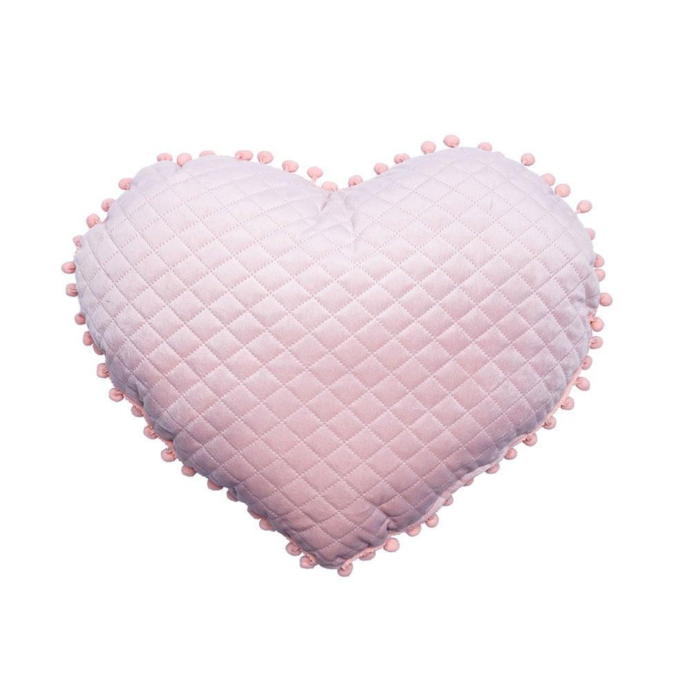 Μαξιλάρι Διακοσμητικό (Με Γέμιση) Elwin Καρδιά Με Pon-Pon Elwin Rose Palamaiki 40Χ40 100% Microfiber