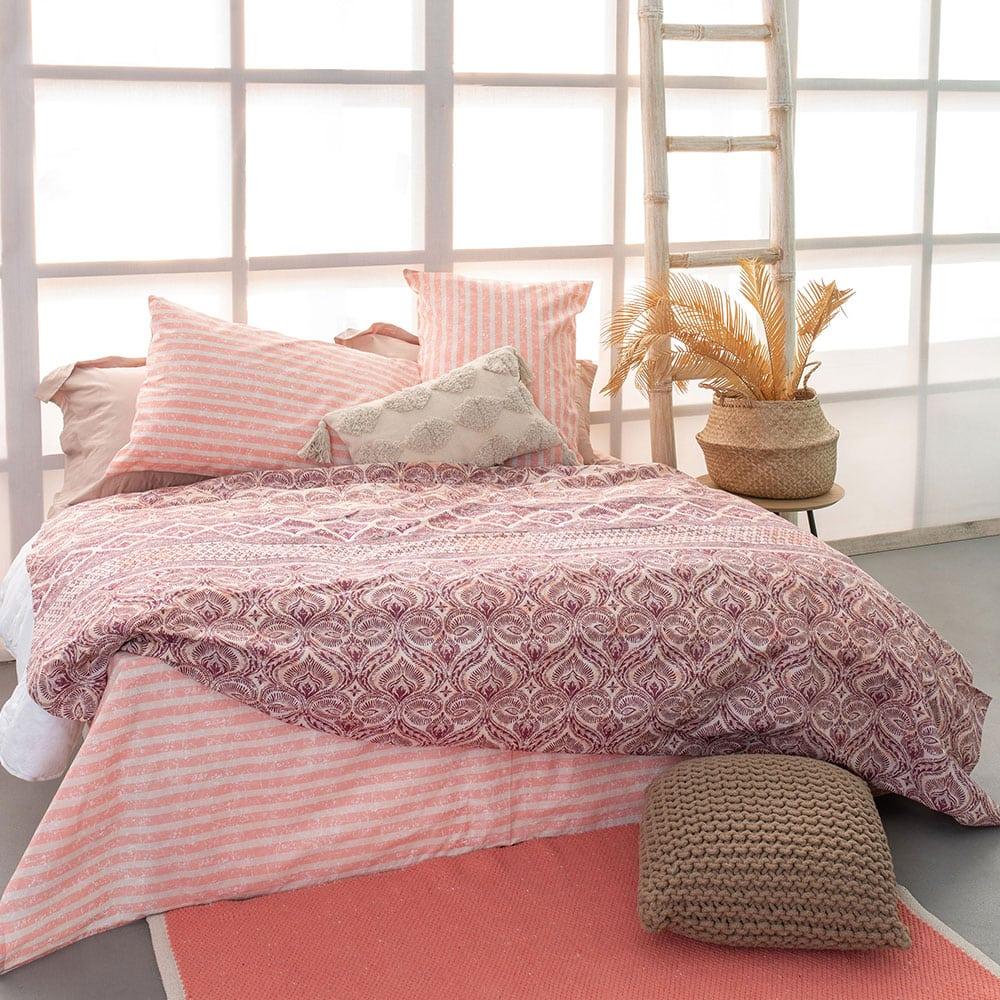 Μαξιλαροθήκες FL6111-T Σετ 2τμχ White-Pink Palamaiki 50X75