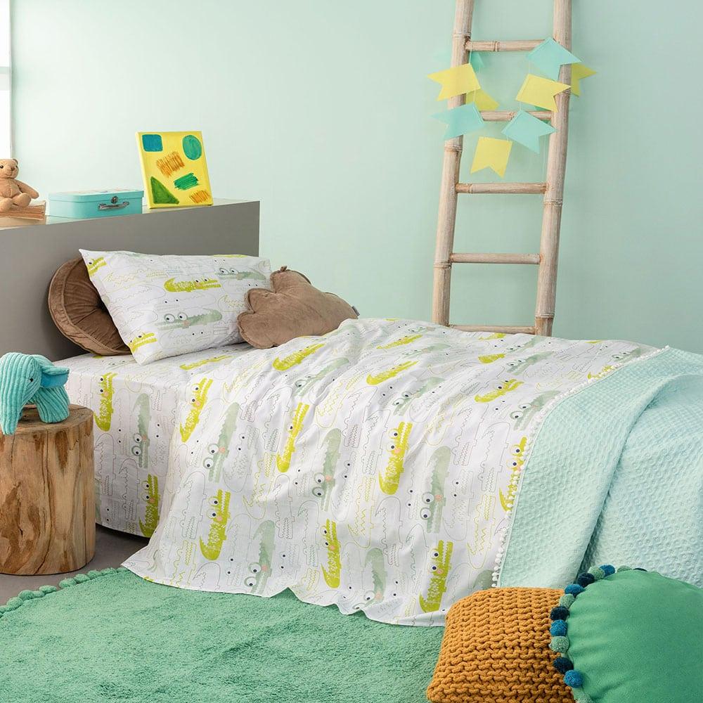 Μαξιλαροθήκες Παιδικές MK732 Σετ 2τμχ White-Green Palamaiki 50X75