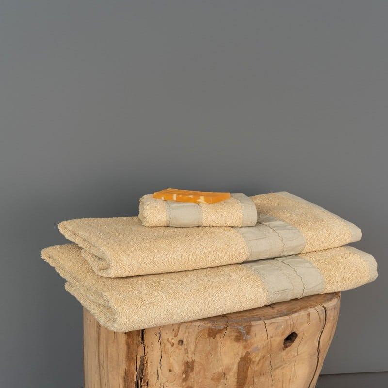Πετσέτες Cactus Σετ 3τμχ Cream Palamaiki Σετ Πετσέτες