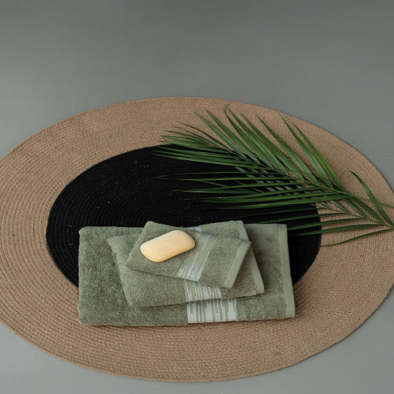 Πετσέτες Kayle Σετ 3τμχ Khaki Palamaiki Σετ Πετσέτες
