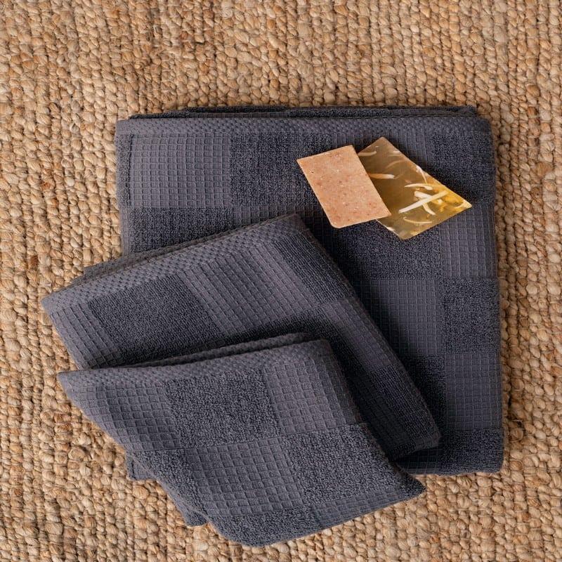 Πετσέτες Kenley Σετ 3τμχ Dark Grey Palamaiki Σετ Πετσέτες