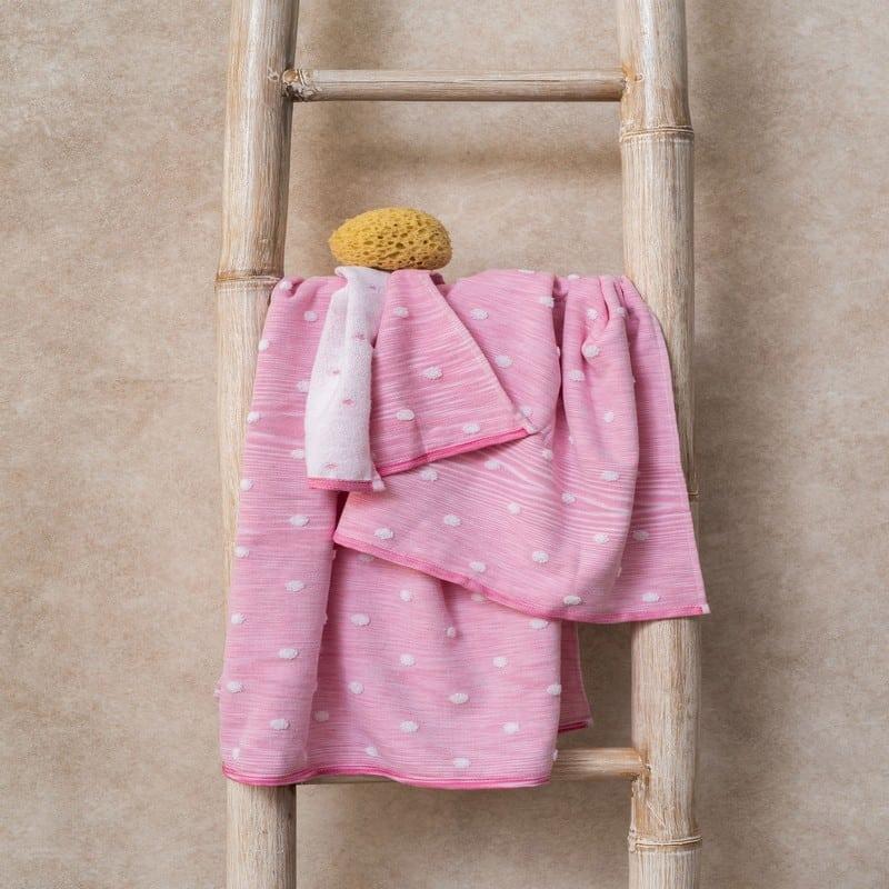 Πετσέτες Monak Σετ 3τμχ Pink Palamaiki Σετ Πετσέτες