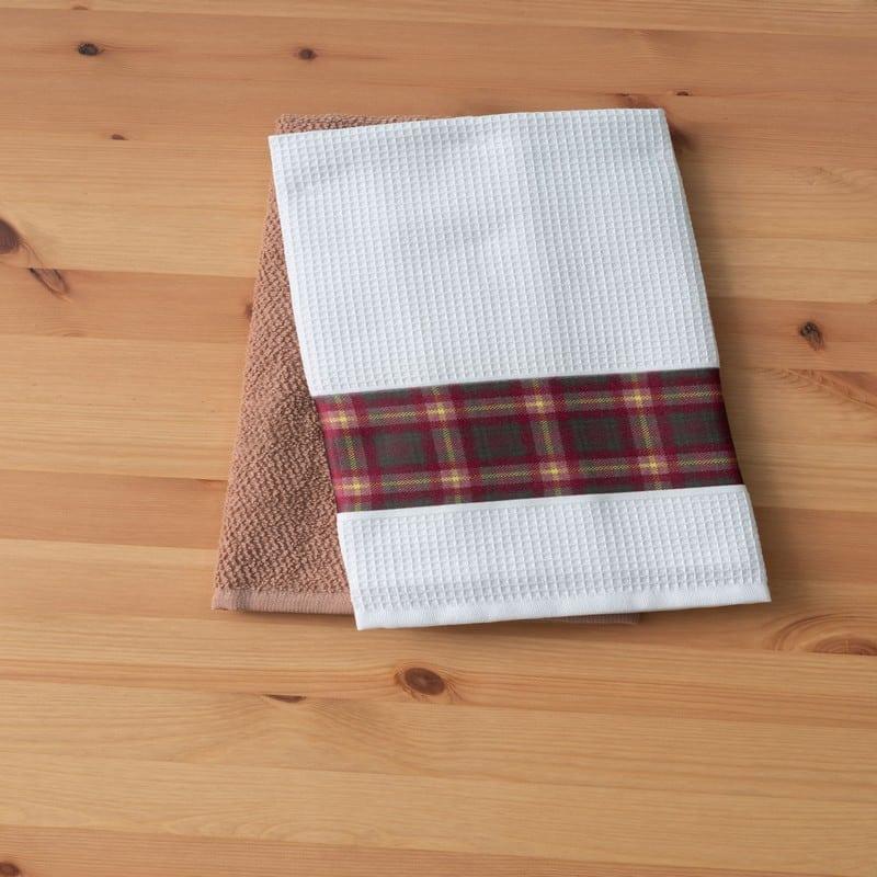 Πετσέτες Κουζίνας Σετ 2τμχ Fawn White-Brown Palamaiki