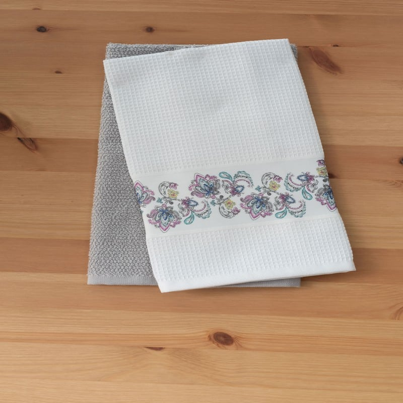 Πετσέτες Κουζίνας Σετ 2τμχ Heather White-Grey Palamaiki