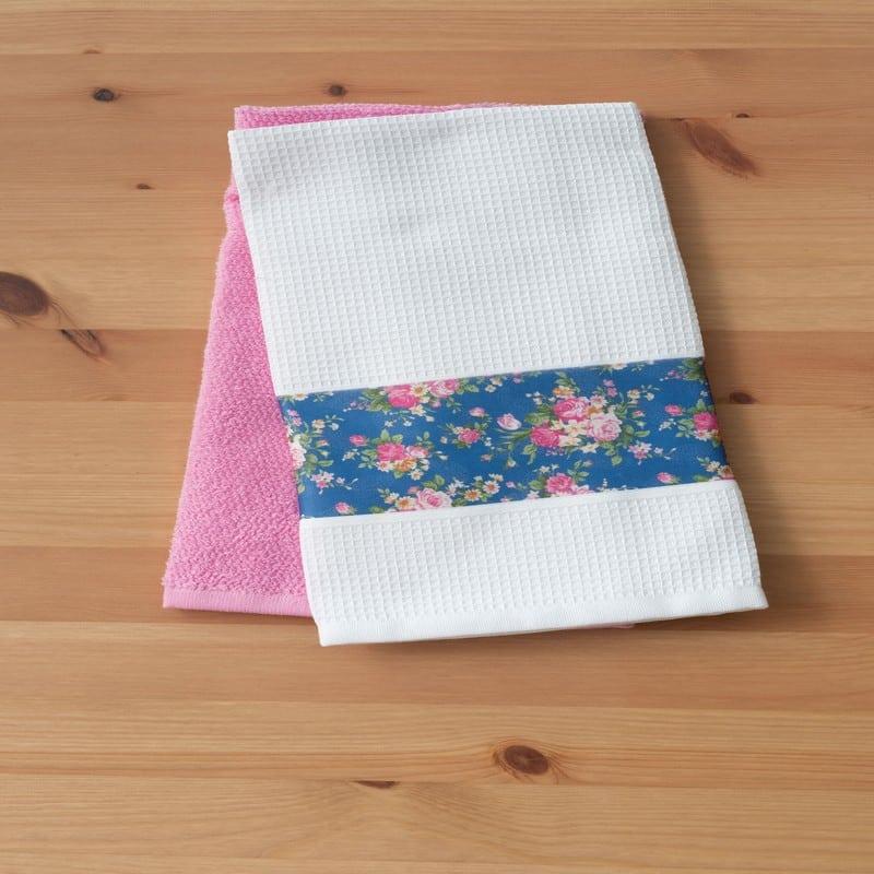 Πετσέτες Κουζίνας Σετ 2τμχ Powder White-Pink Palamaiki