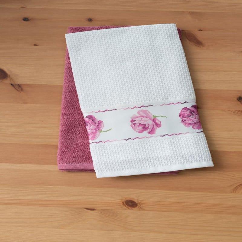 Πετσέτες Κουζίνας Σετ 2τμχ Rouge White-Pink Palamaiki