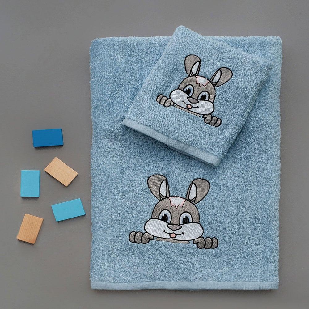 Πετσέτες Παιδικές Σετ 2τμχ Fuzzy Blue Palamaiki Σετ Πετσέτες