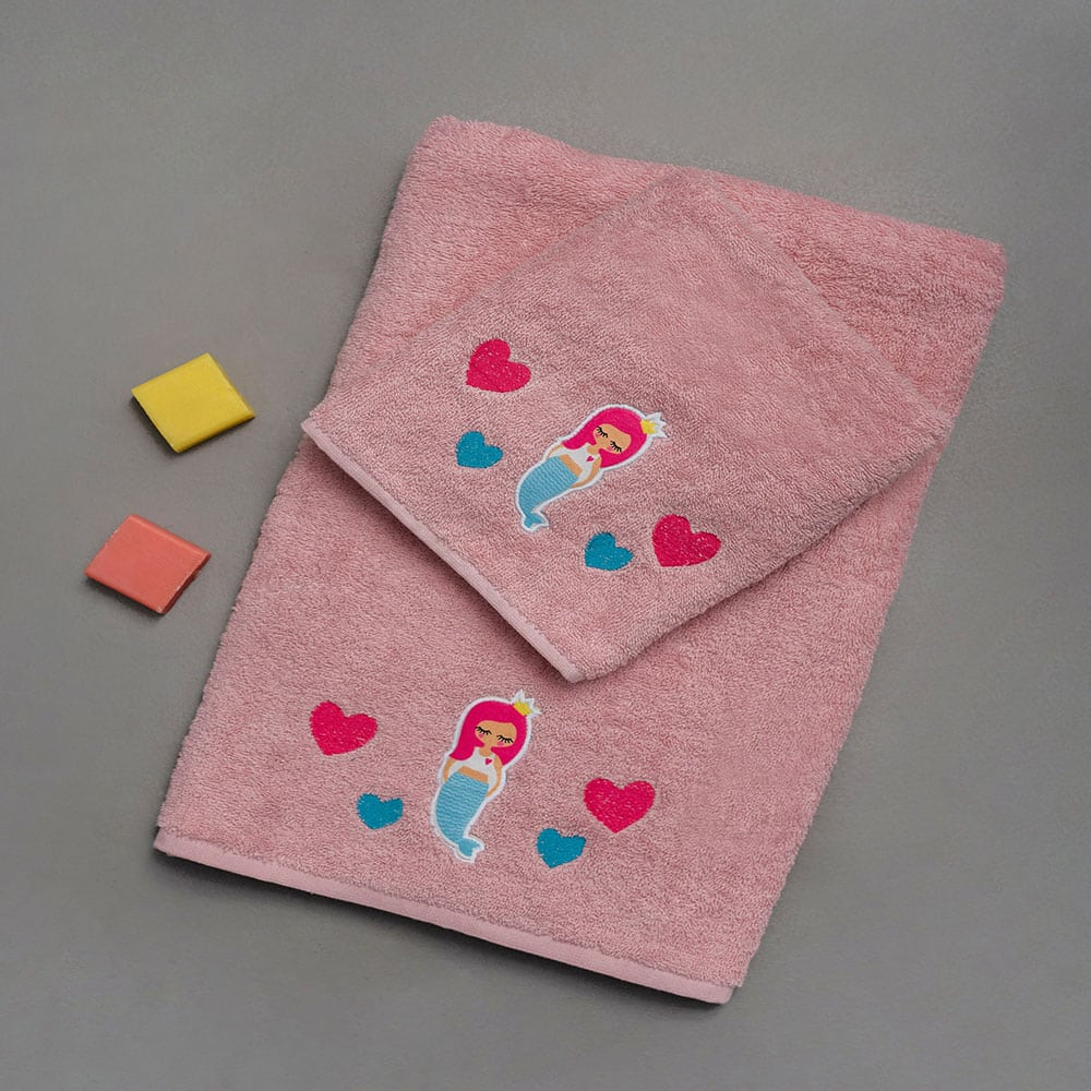 Πετσέτες Παιδικές Σετ 2τμχ Marla Pink Palamaiki Σετ Πετσέτες