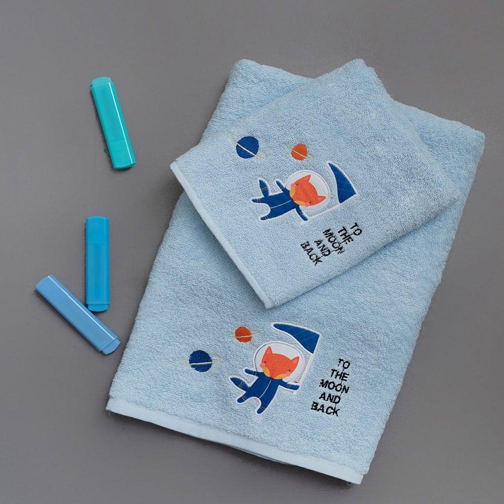 Πετσέτες Παιδικές Σετ 2τμχ Mars Ligh Blue Palamaiki Σετ Πετσέτες