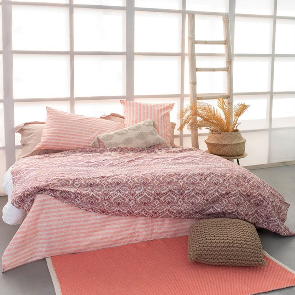 Σεντόνια FL6111 Σετ 4τμχ Fashion Life White-Pink Palamaiki King Size