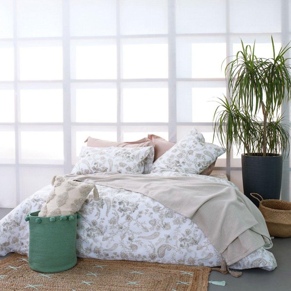 Σεντόνια FL6118 Σετ 4τμχ Fashion Life White-Beige Palamaiki Υπέρδιπλo