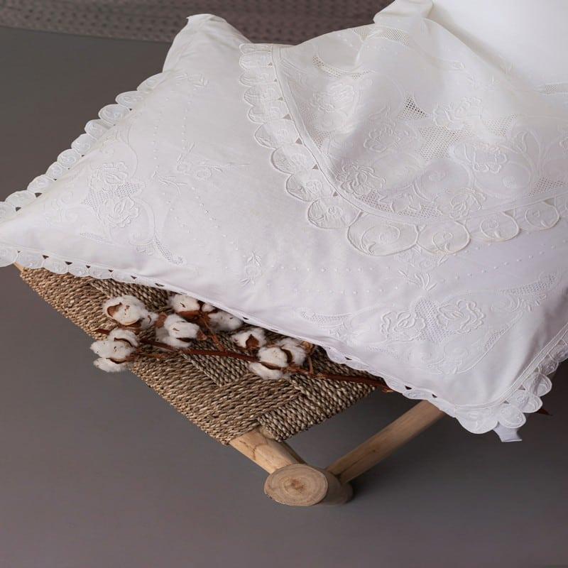 Σεντόνια Souri Σετ 4τμχ Vintage Beauty White Palamaiki Υπέρδιπλo