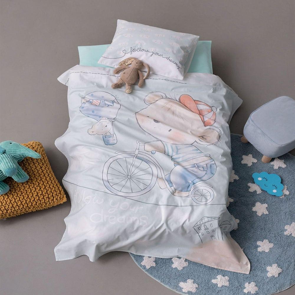 Σεντόνια Βρεφικά Σετ 3τμχ HB0574 Happy Baby Blue Palamaiki Κούνιας