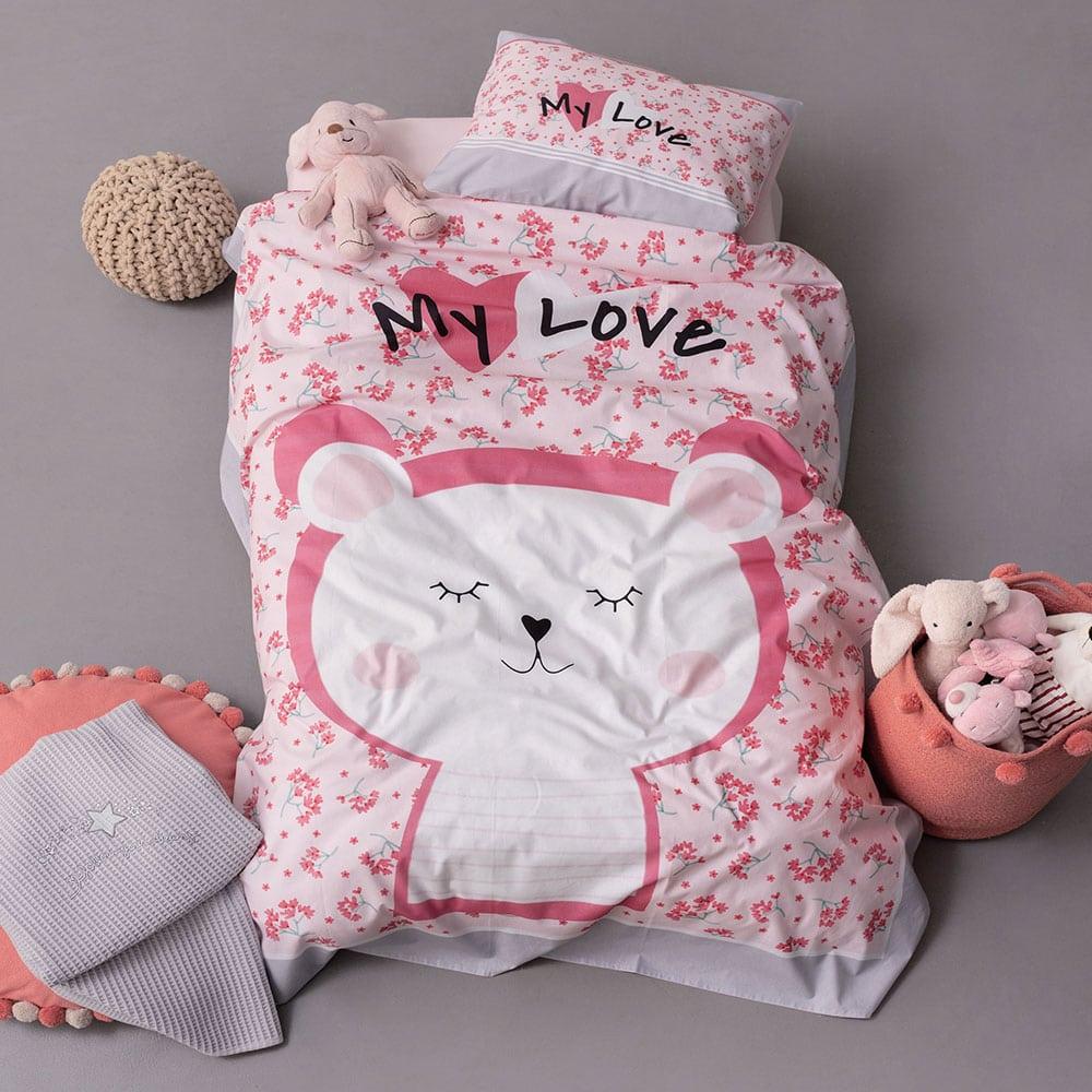Σεντόνια Βρεφικά Σετ 3τμχ HB0576 Happy Baby Pink Palamaiki Κούνιας
