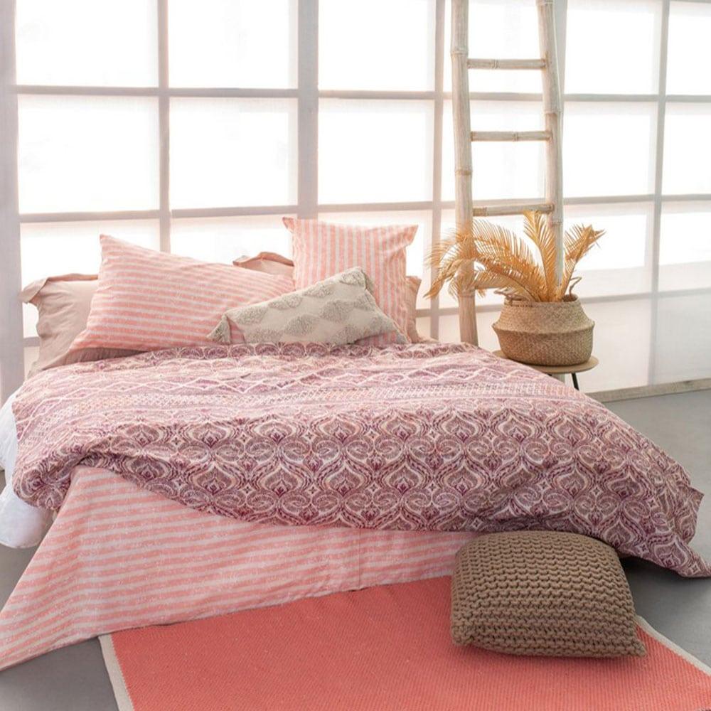 Σεντόνια Με Λάστιχο FL6111 Σετ 4τμχ Fashion Life White-Pink Palamaiki Υπέρδιπλo
