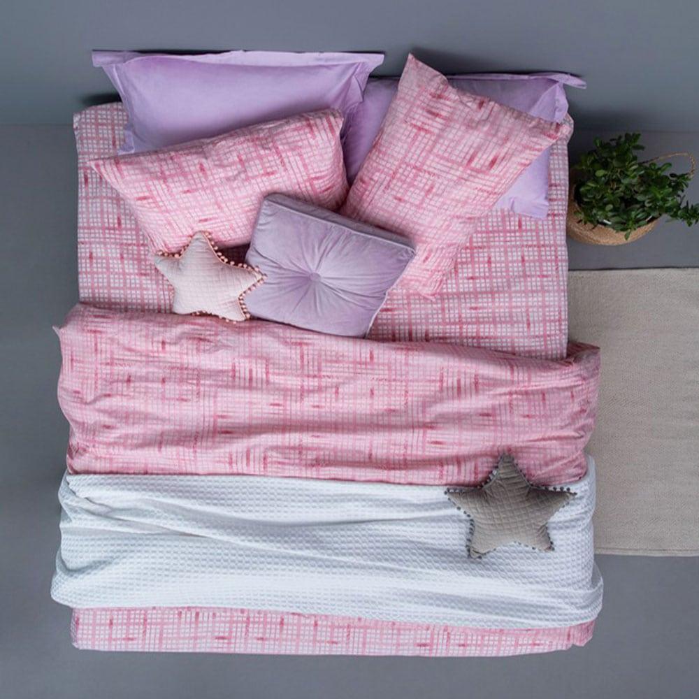 Σεντόνια Με Λάστιχο FL6122 Σετ 4τμχ Fashion Life Pink Palamaiki Υπέρδιπλo
