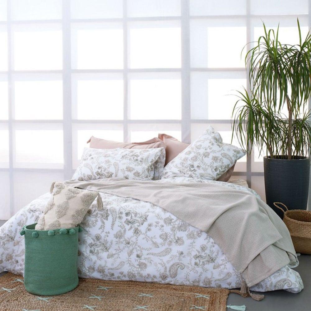 Σεντόνια Με Λάστιχο Σετ 4τμχ Fashion Life FL6118 White-Beige Palamaiki Υπέρδιπλo