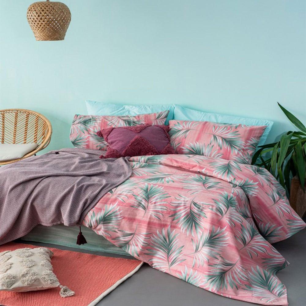 Σεντόνια Με Λάστιχο Fashion Life FL6114 Pink-Green Palamaiki Υπέρδιπλo