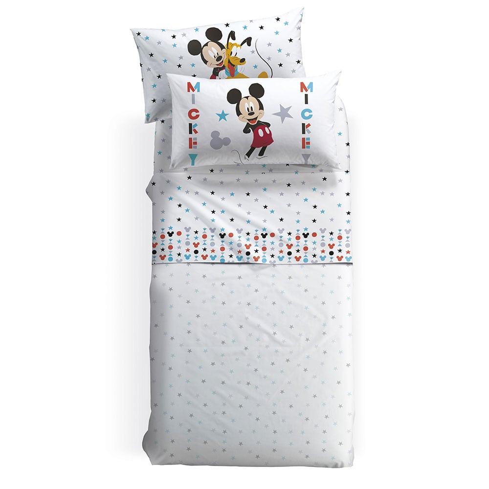 Σεντόνια Παιδικά Με Λάστιχο Disney Mickey Stelle Σετ 3τμχ White-Multi Palamaiki Μονό