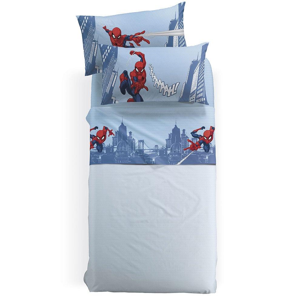 Σεντόνια Παιδικά Με Λάστιχο Disney Spiderman City Σετ 3τμχ Blue-Red Palamaiki Μονό