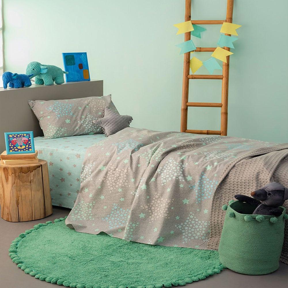 Σεντόνια Παιδικά Με Λάστιχο MK730 Σετ 3τμχ Light Blue Palamaiki Μονό