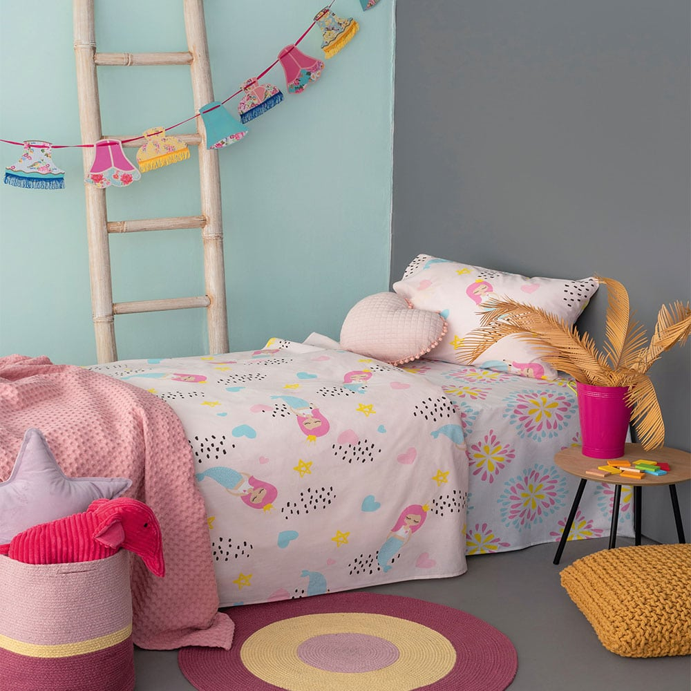 Σεντόνια Παιδικά Με Λάστιχο MK728 Pink Palamaiki Μονό