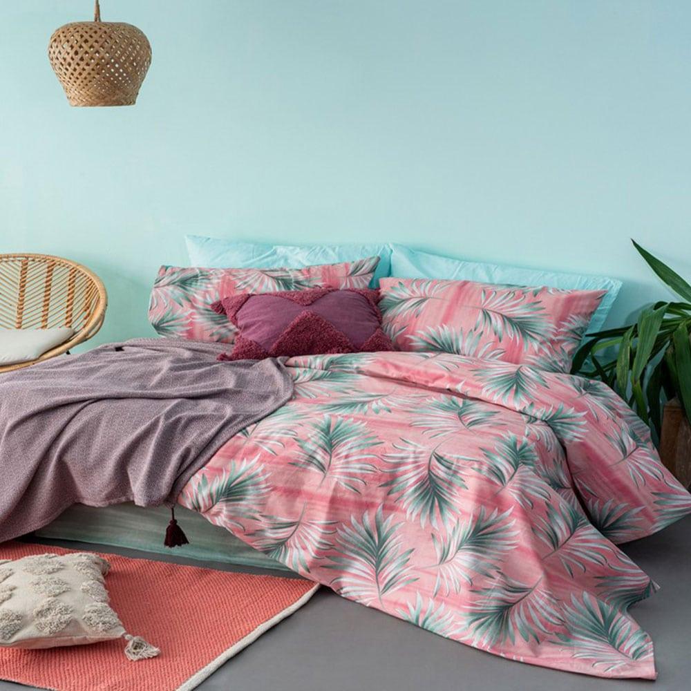 Σεντόνια FL6114 Fashion Life Σετ 4τμχ Pink-Green Palamaiki Διπλό