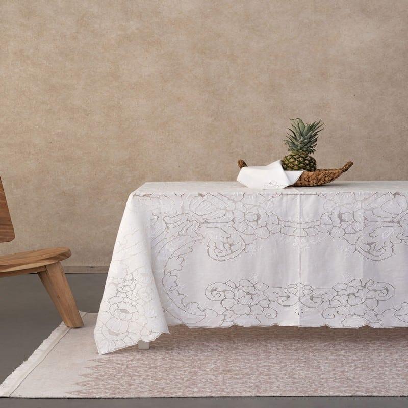 Τραπεζομάντηλο Billie Με Πετσέτες Φαγητού Σετ 9τμχ White Palamaiki 170X170