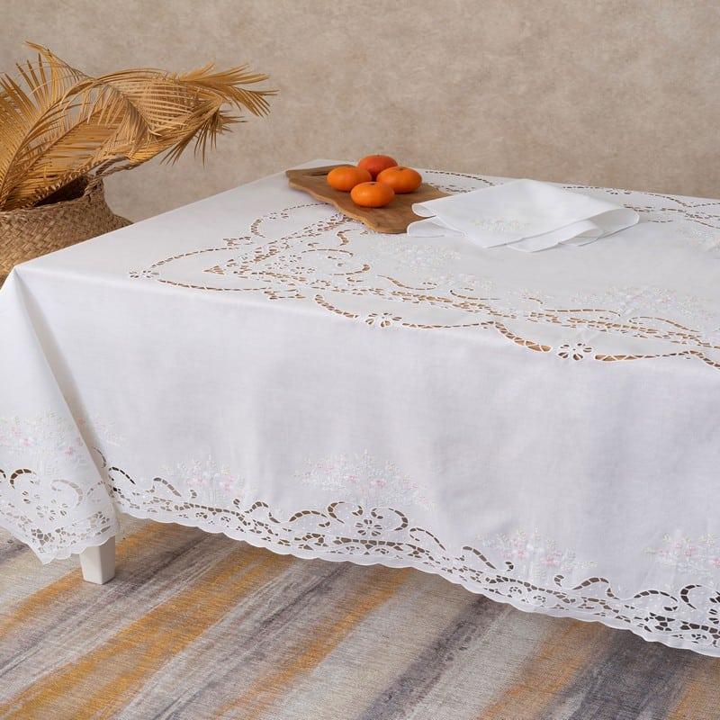 Τραπεζομάντηλο Crino Με Πετσέτες Φαγητού Σετ 9τμχ White Palamaiki 150X200