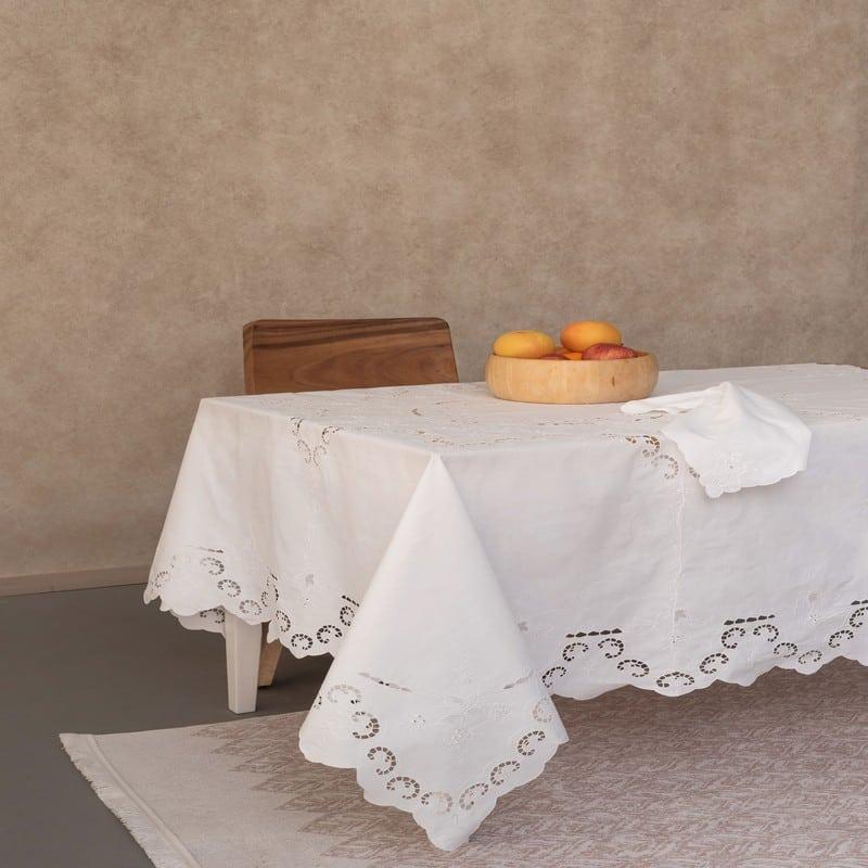 Τραπεζομάντηλο Koreli Με Πετσέτες Φαγητού Σετ 9τμχ White Palamaiki 170X170