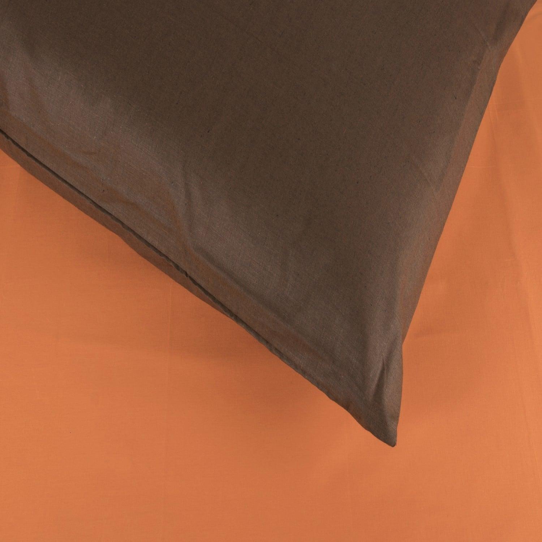 Σεντόνια Σετ 2Τμχ. Laura Δίχρωμα Orange-Brown Astron Μονό 160x240cm