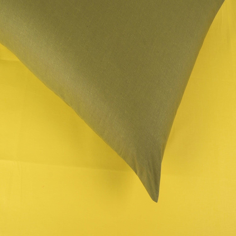 Σεντόνια Σετ 4Τμχ. Laura Δίχρωμα Yellow-Khaki Astron Υπέρδιπλo 220x240cm