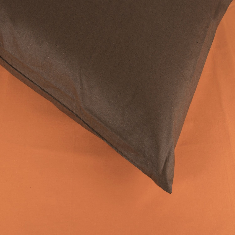 Σεντόνια Σετ 4Τμχ. Laura Δίχρωμα Orange-Brown Astron Υπέρδιπλo 220x240cm