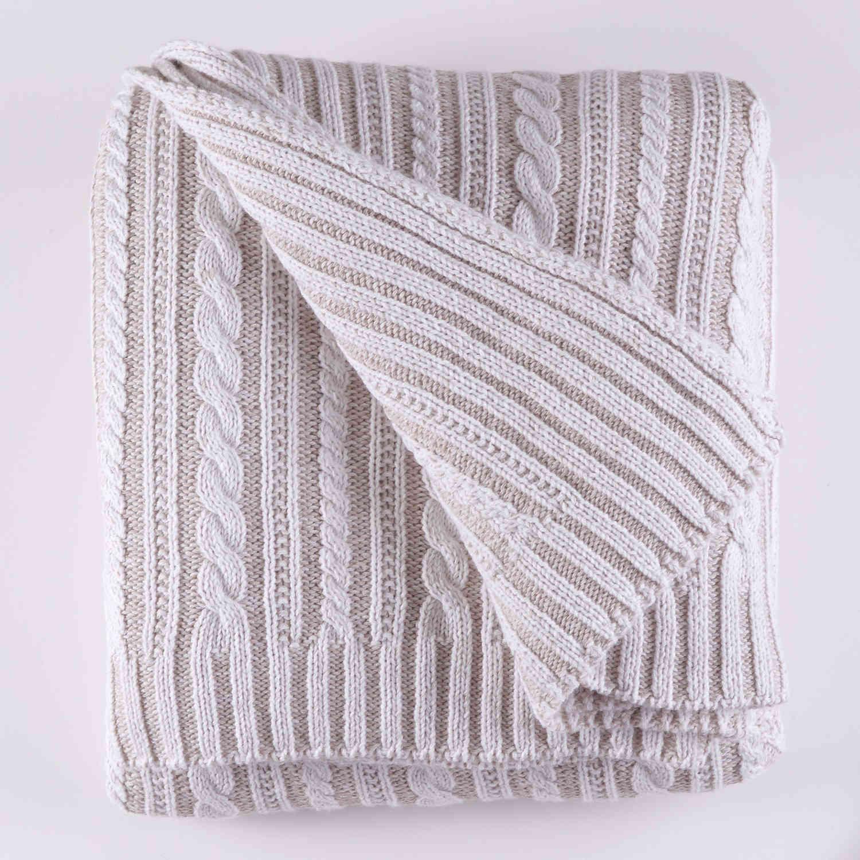 Κουβέρτα Πλεχτή Henna 01 Ecru Ρυθμός Υπέρδιπλo 220x240cm