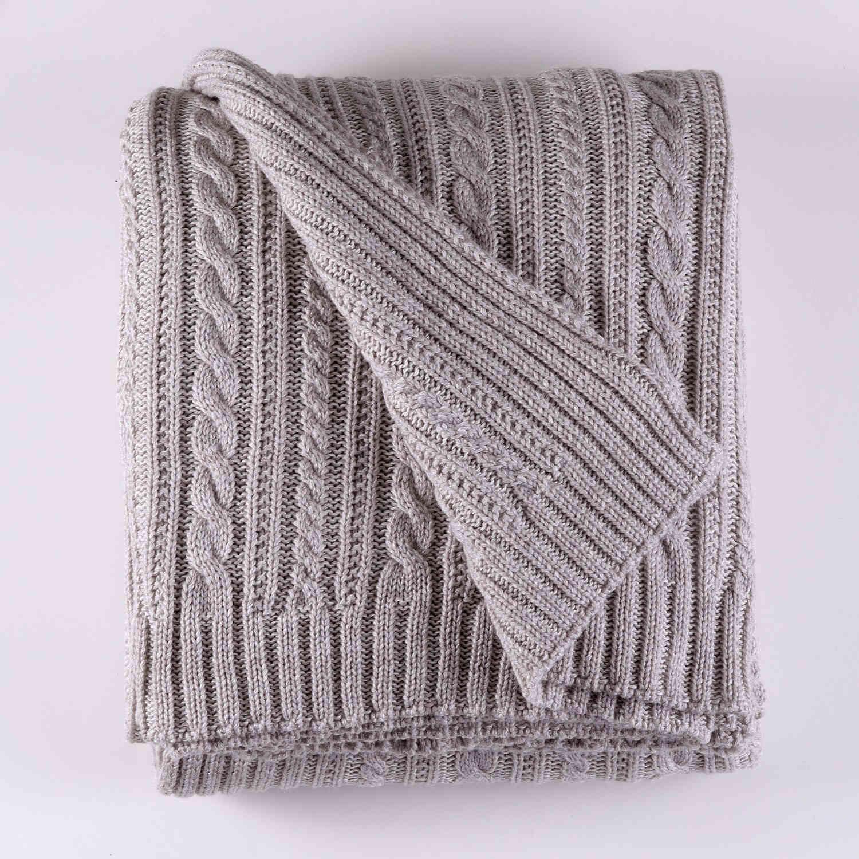 Κουβέρτα Πλεχτή Henna 02 Grey Ρυθμός Υπέρδιπλo 220x240cm