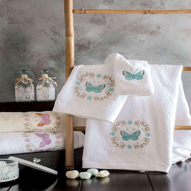 Πετσέτες Σετ Audete Λευκό με Μπλέ Σχέδιο 3τμχ. Ρυθμός Σετ Πετσέτες