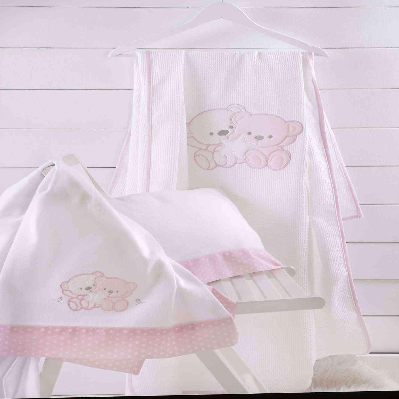 Κουβέρτα Βρεφική Πικέ Με Κέντημα Together Ροζ Ρυθμός Κούνιας 120x150cm