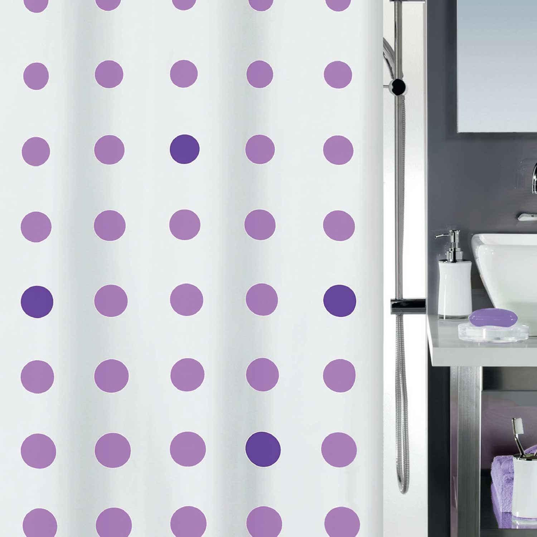 Κουρτίνα Μπάνιου Pallone 02462.001 White-Purple 180X200cm Spirella Φάρδος 180cm 180x200cm