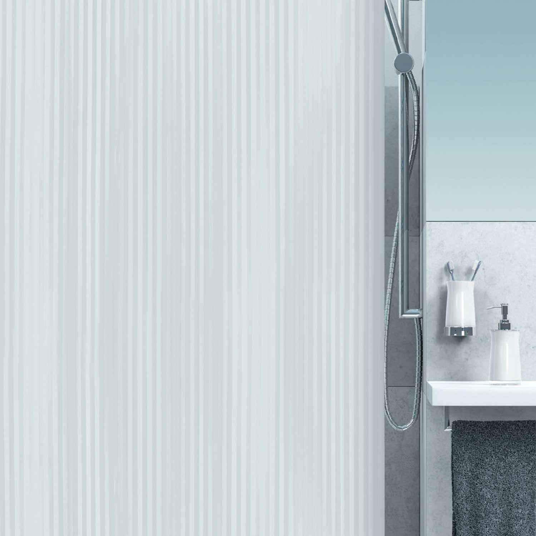 Κουρτίνα Μπάνιου Twill 00867.001 White 180X200cm Spirella Φάρδος 180cm 180x200cm