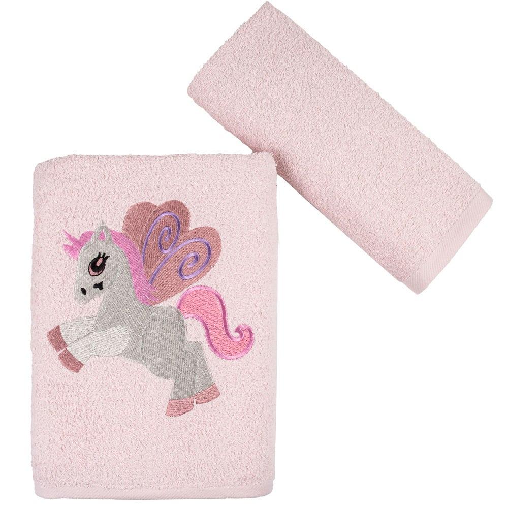 Πετσέτες Παιδικές Baby Unicorn Σετ 2τμχ Pink Astron Σετ Πετσέτες