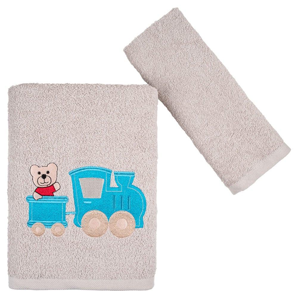 Πετσέτες Παιδικές Bear & Train Σετ 2τμχ Beige Astron Σετ Πετσέτες